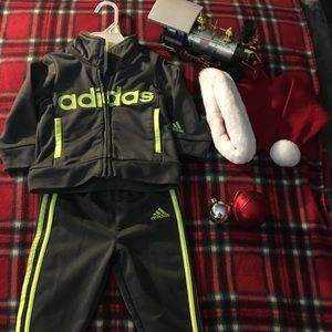 Baby Boy Adidas Grey&Fluorescent Green Track Suit